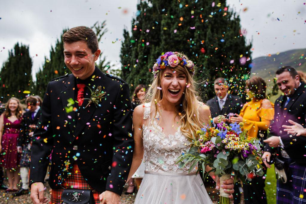 Angus wedding photographer , confetti , wedding pictures , glen clova wedding , dundee wedding photography , unique wedding pictures
