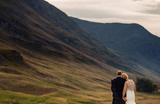 Couple at Scotland wedding venue , Glen Clova