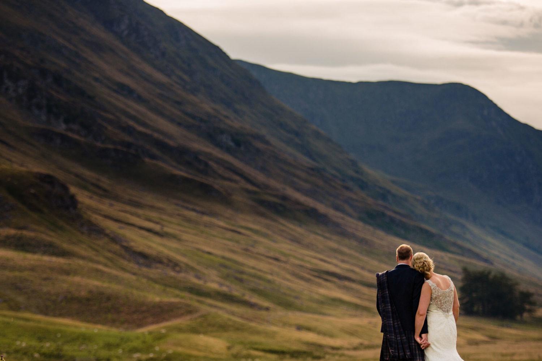 Best sunset landscape wedding images from Scottish wedding venue, Glen Clova