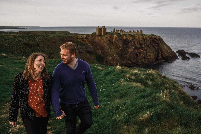 pre wedding photoshoot wedding couple bride groom mr mrs Scotland Aberdeen Dunnotar castle